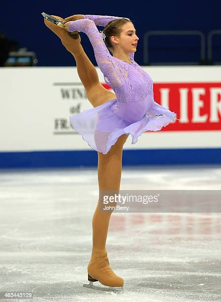Inga Januleviciute of Lithuania competes in the Ladies Free Skating event of the ISU European Figure Skating Championships 2014 held at the Syma Hall...