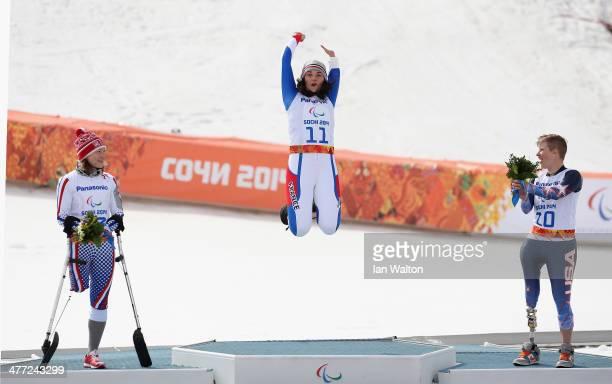 Inga Medvedva of Russia celebrates winning Silver Marie Bochet of France celebrates winning Gold and Allison Jones of United States celebrates...