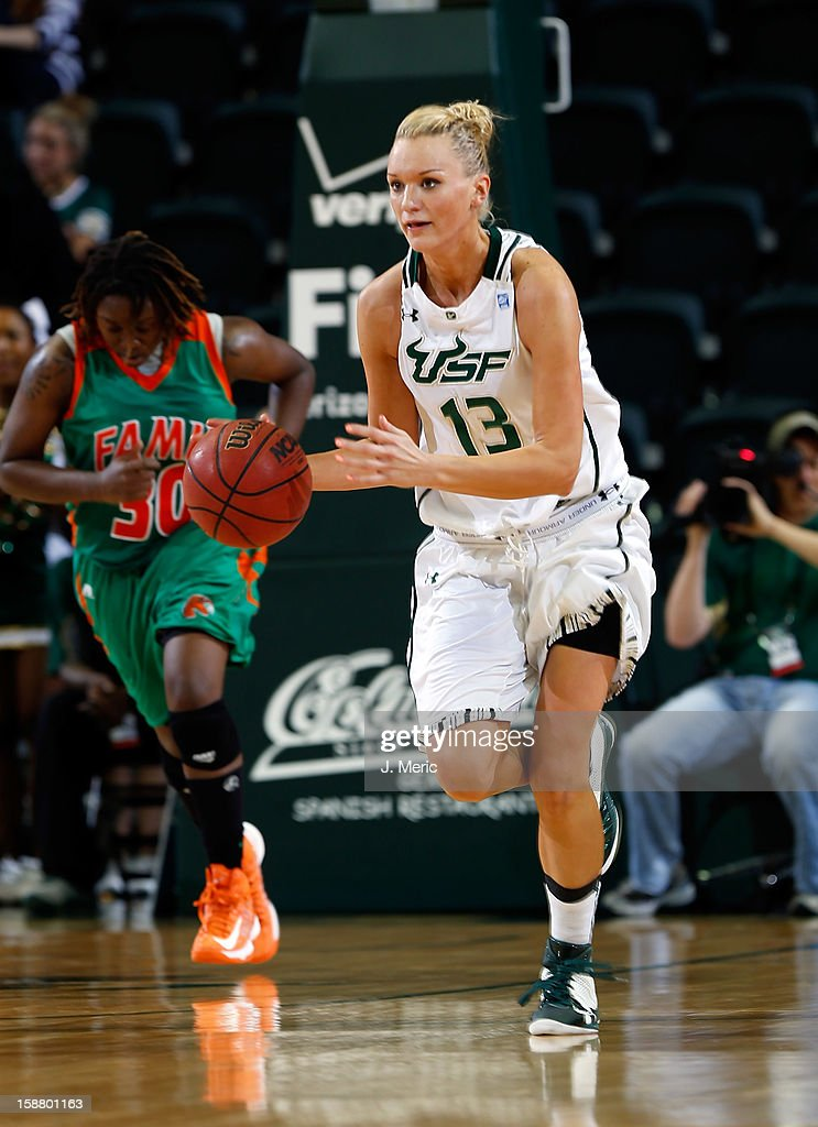 Inga Orekhova #13 of the South Florida Bulls brings the ball up the court against the Florida A&M Rattlers during the game at the Sun Dome on December 29, 2012 in Tampa, Florida.