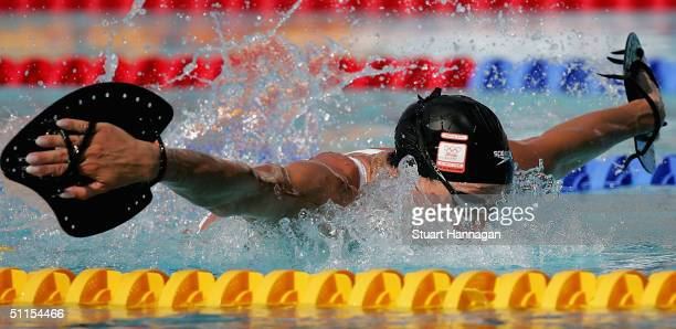 Inge De Bruijn of the Netherlands is seen in action during a training session on August 9 2004 at the Olympic Aquatic Centre in Athens Greece The...