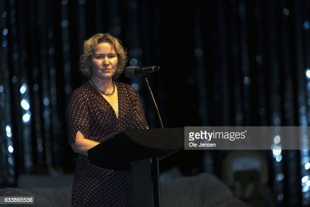 Inge Marie Svane during her acceptance speech for receiving the Danish Cancer Society's Honorary Award 2017 which was presented by Crown Princess...