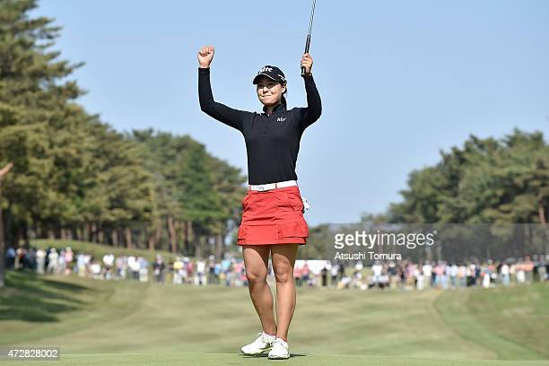 InGee Chun of South Korea celebrates her winning putt during the final round of the World Ladies Championship Salonpas Cup at the Ibaraki Golf Club...