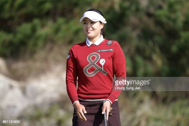 InGee Chun of South Korea reacts after a putt on the 2nd green during the third round of the LPGA KEB Hana Bank Championship at the Sky 72 Golf Club...