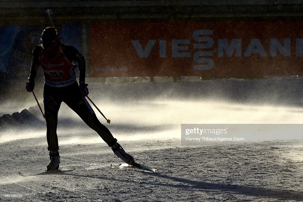 Ingela Andersson of Sweden competes during the IBU Biathlon World Cup Men's and Women's Relay on January 25 2015 in AntholzAnterselva Italy
