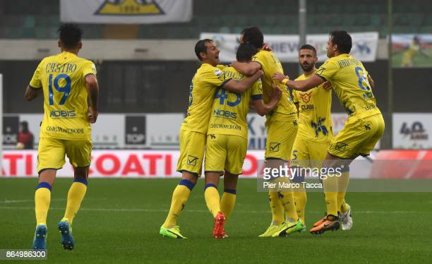 Inglese Roberto of AC Chievo Verona celebrates with his teamates his second goal during the Serie A match between AC Chievo Verona and Hellas Verona...