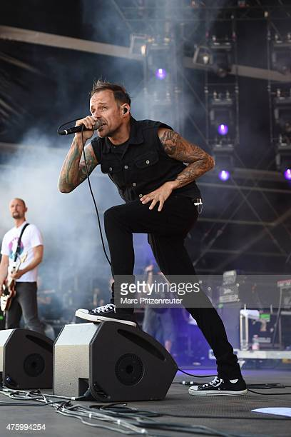 Ingo Knollmann of the Donots performs on stage during the first day of 'Rock am Ring' at the Flugplatz Mendig on June 5 2015 in Mendig Germany