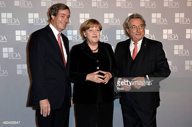 Ingo Kramer German Chancellor Angela Merkel and Dr Dieter Hundt pose during a gathering of the German Employers' Federation at The German Historical...
