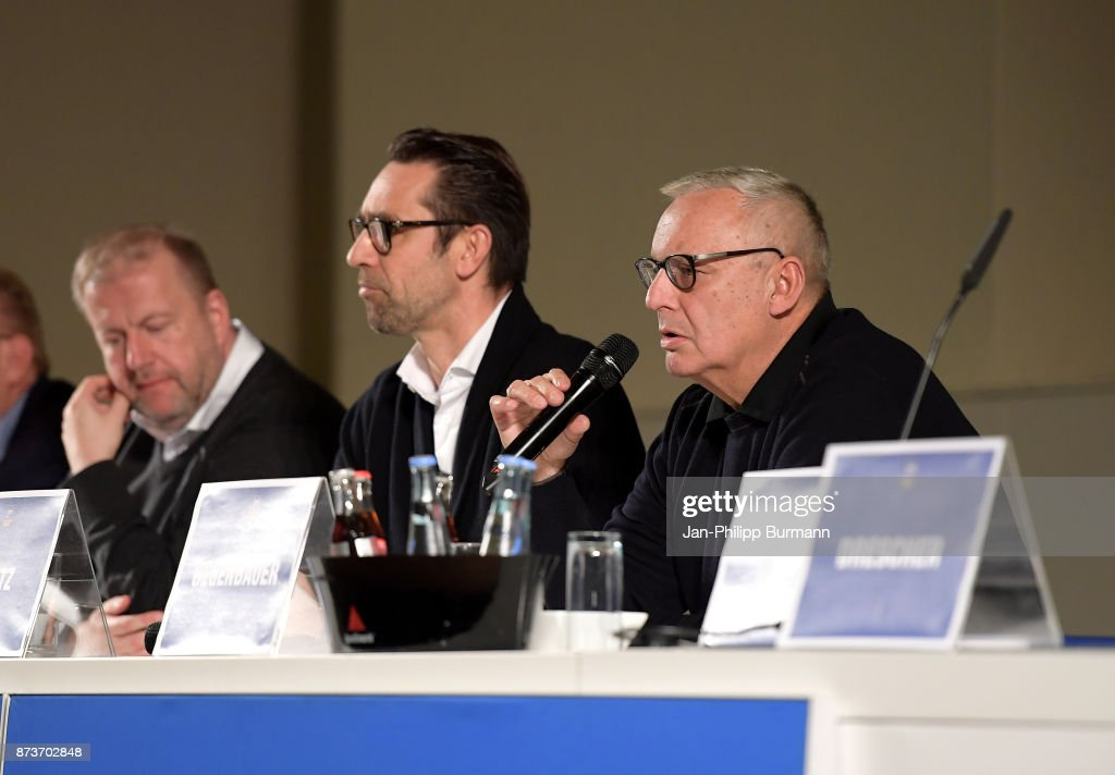 CEO Ingo Schiller, CEO Michael Preetz, president Werner Gegenbauer of Hertha BSC bei Hertha BSC im Dialog on november 13, 2017 in Berlin, Germany.