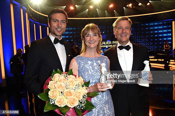 Ingo Zamperoni Angela Andersen and Claus Kleber attend the Bayerischer Fernsehpreis 2015 at Prinzregententheater on May 22 2015 in Munich Germany
