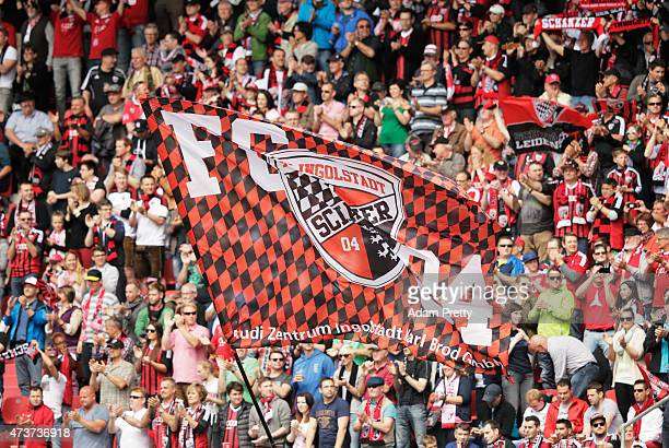 Ingolstadt fans wave flags before the 2 Bundesliga match between FC Ingolstadt and RB Leipzig at Audi Sportpark on May 17 2015 in Ingolstadt Germany