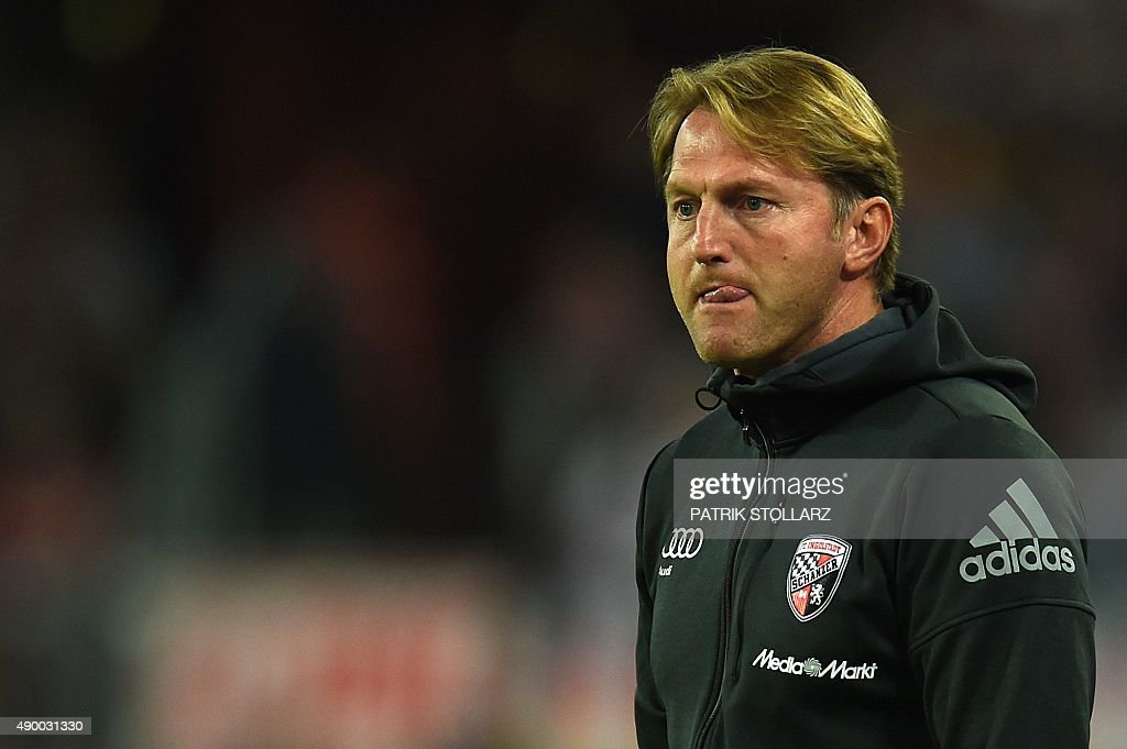 Ingolstadt's Austrian head coach Ralph Hasenhuettl reacts during the German first division Bundesliga football match FC Cologne vs FC Ingolstadt 04...