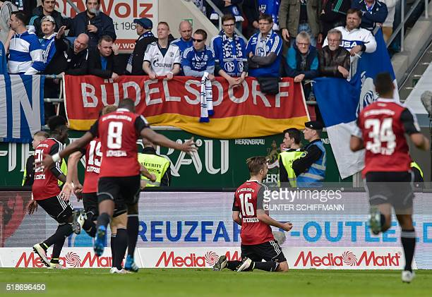 Ingolstadt's defender Danny Da Costa Ingolstadt's Austrian forward Lukas Hinterseer and teammates celebrate the second goal for their team during the...