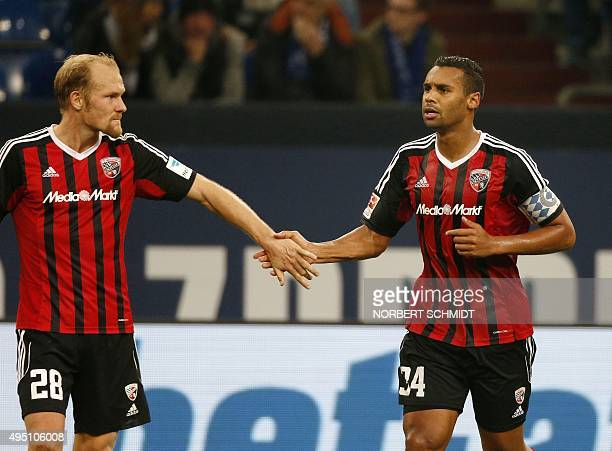 Ingolstadt's defender Tobias Levels and Ingolstadt's defender Marvin Matip react during the German first division Bundesliga football match FC...