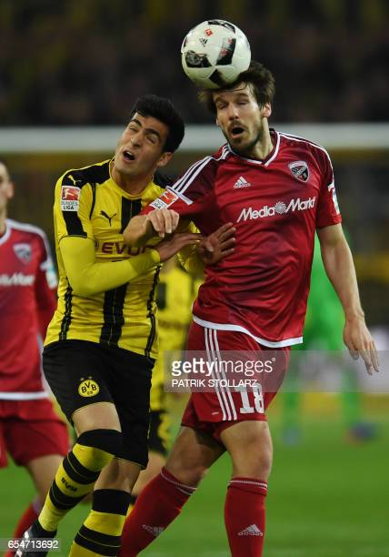 Ingolstadt´s French defender Romain Bregerie and Dortmund's Spanish midfielder Mikel Merino vie for the ball during the German First division...
