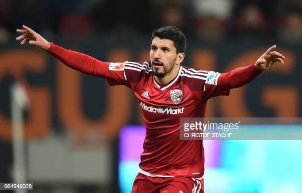 Ingolstadt's Israeli midfielder Almog Cohen celebrates after the third goal for Ingolstadt during the German first division Bundesliga football match...