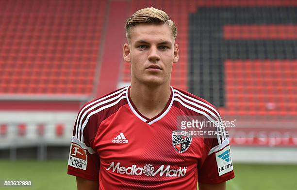 Ingolstadt's midfielder Max Christiansen poses during a team presentation of the German first division Bundesliga team FC Ingolstadt 04 in Ingolstadt...