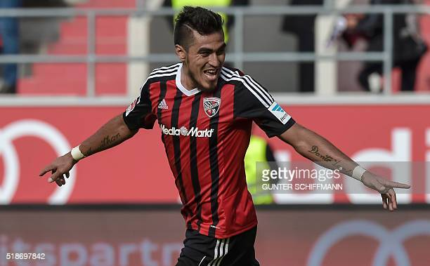Ingolstadt's Paraguayan forward Dario Lezcano celebrates after scoring his team's third goal during the German first division Bundesliga football...