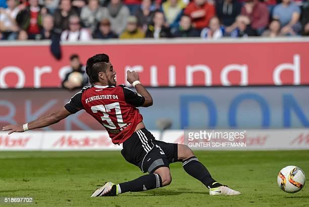 Ingolstadt's Paraguayan forward Dario Lezcano scores his team's third goal during the German first division Bundesliga football match FC Ingolstadt...
