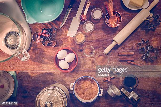 Ingredients and Baking Utensils for Christmas Baking