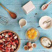 Ingredients for baking a rhubarb cake