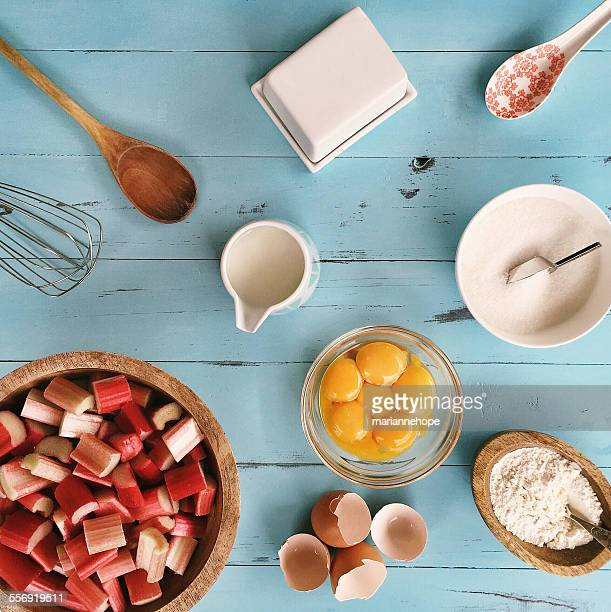 Ingredients for baking a rhubarb cake