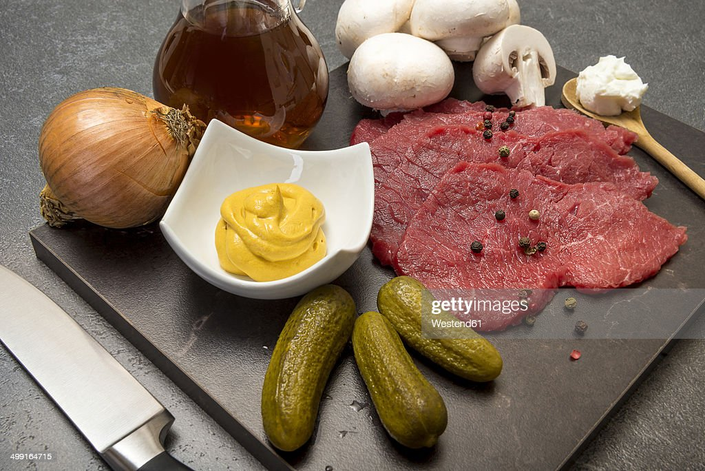 Ingredients for beef Stroganoff, studio shot