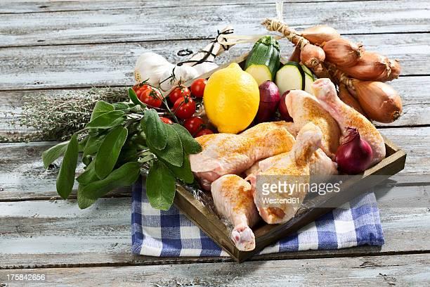 Ingredients for chicken dish on napkin
