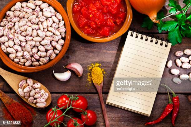 Ingredients for cooking Mexican style pinto beans