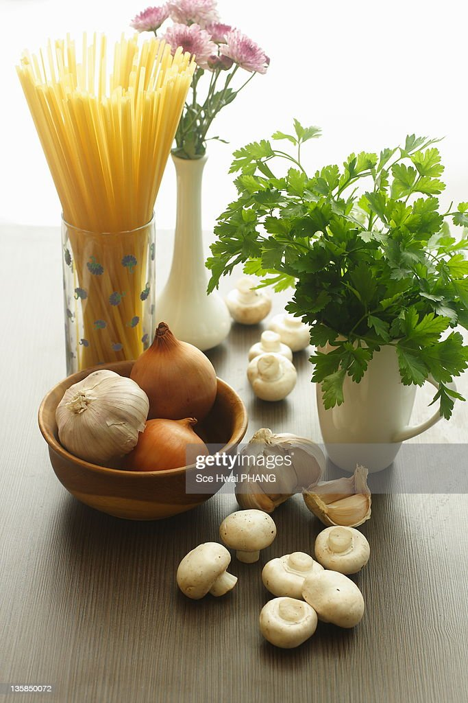 Ingredients for cooking pasta : Stock Photo
