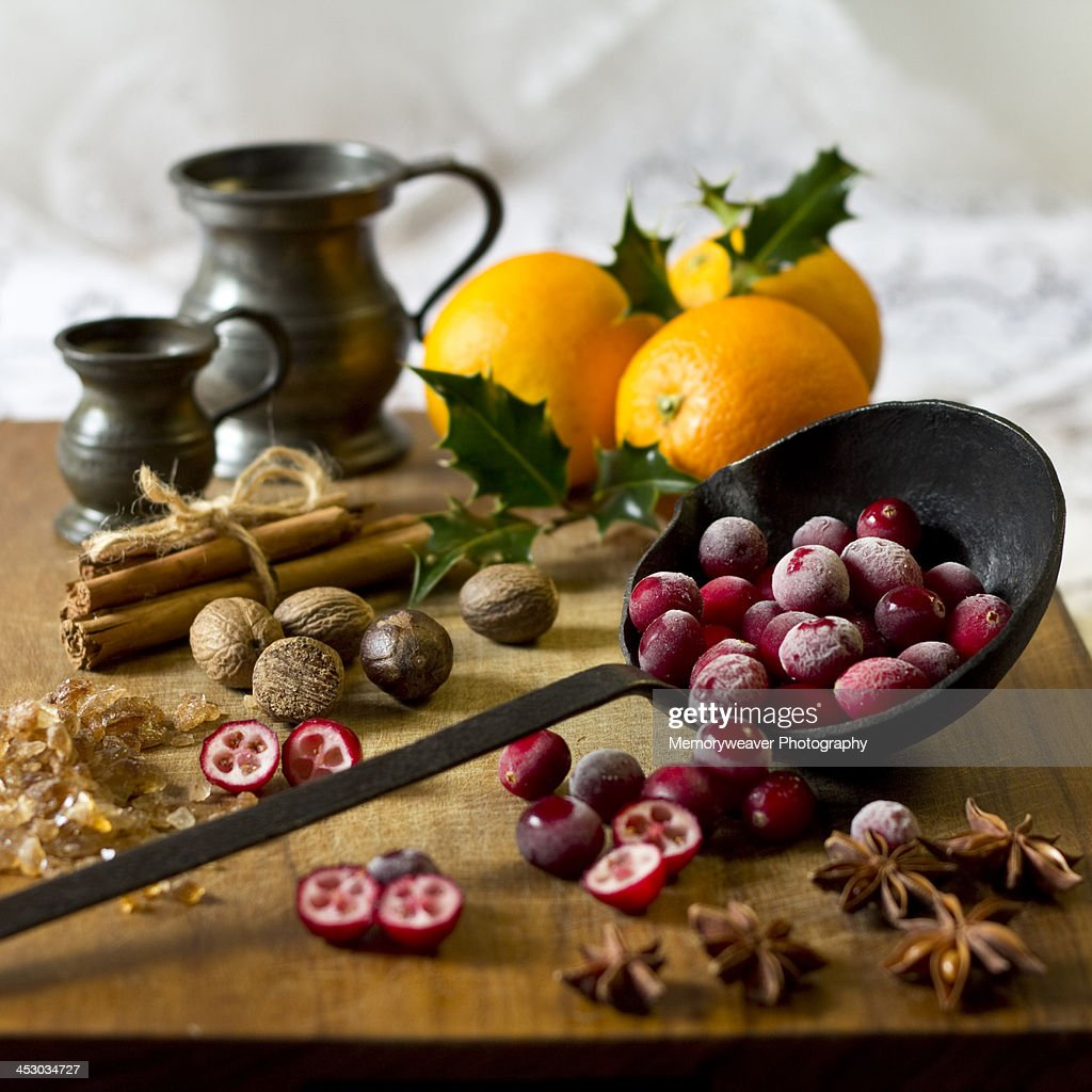 Ingredients for making Christmas cranberry relish