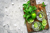 Ingredients for making mojito on a wooden cutting board on grey concrete or stone background.Top view.
