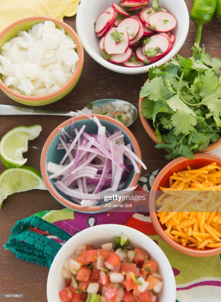 Ingredients for Mexican food in bowls