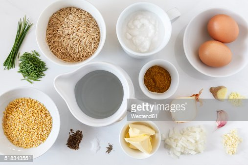 Ingredients for preparing vegetarian kedgeree