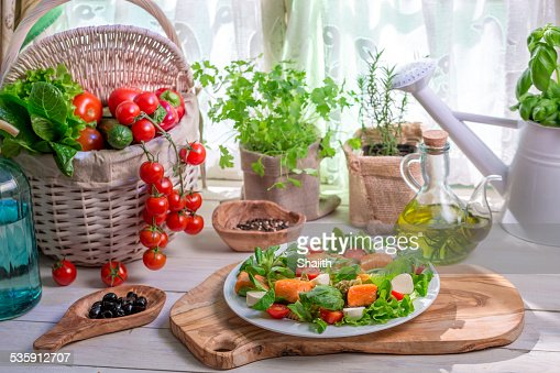 Ingredients for salad with salmon and vegetables : Stock Photo