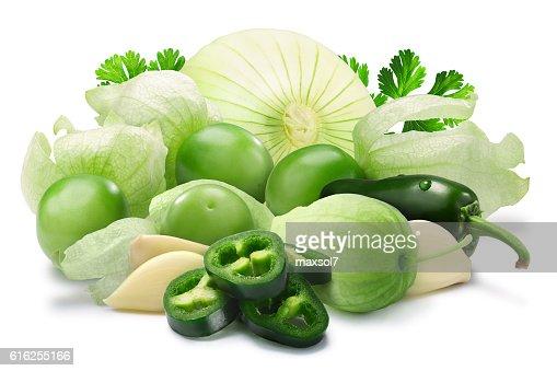 Ingredients for Salsa Verde, paths : Foto de stock