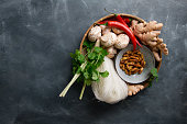 Ingredients for spicy asian food with fried insect (silk worm), top view, selective focus