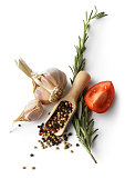 Ingredients: Garlic, Pepper, Rosemary and Tomato Isolated on White Background