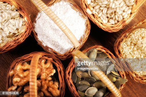 ingredients in baskets : Foto de stock