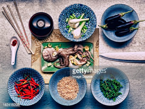 Ingredients in dishes for korean cuttlefish meal : Stock Photo