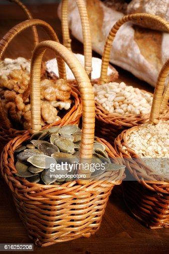 ingredients in little baskets : Stock Photo