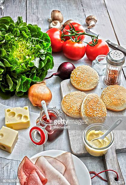 Ingredients of burgers on light ground