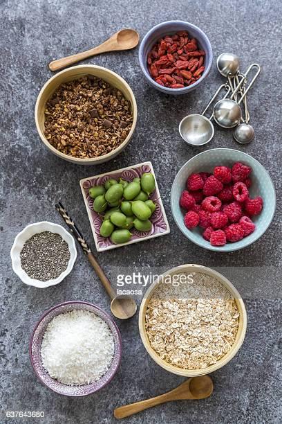 ingredients of healthy muesli with fruits