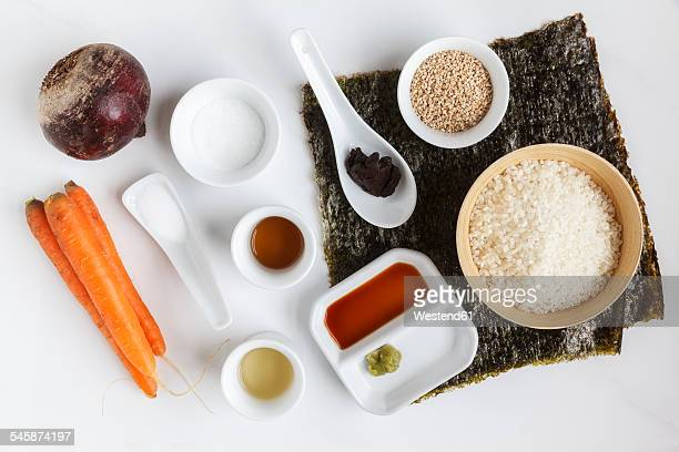 Ingredients of Maki Sushi on white ground