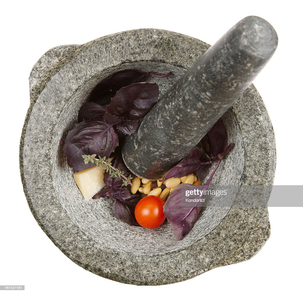 Ingredients of pesto sauce in mortar, isolated : Stock Photo