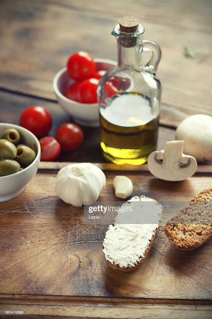 Ingredients  on a cutting board : Stock Photo