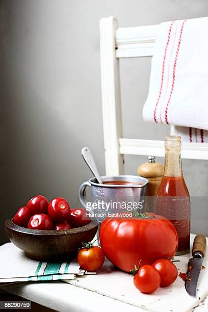 Ingredients on chair to make tomatoe sauce