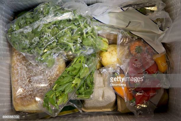 Ingredients sit inside a Blue Apron Holdings Inc mealkit delivery package in Tiskilwa Illinois US on Wednesday June 14 2017 Blue Apron Holdings Inc...