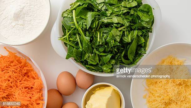 Ingredients spinach-carrot cake.