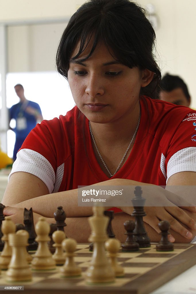 Ingrid Aliaga of Peru competes during the opening day of the Chess competition as part of the XVII Bolivarian Games Trujillo 2013 at Colegio San Jose Library on November 18, 2013 in Lima, Peru.