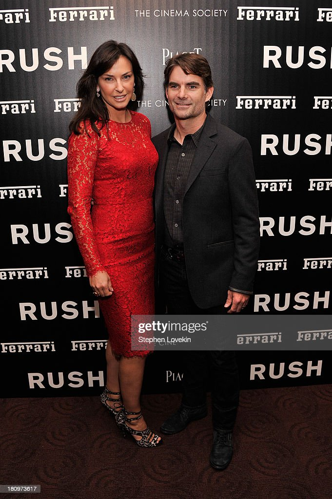 Ingrid and Jeff Gordon attend the Ferrari and The Cinema Society Screening of 'Rush' at Chelsea Clearview Cinemas on September 18, 2013 in New York City.
